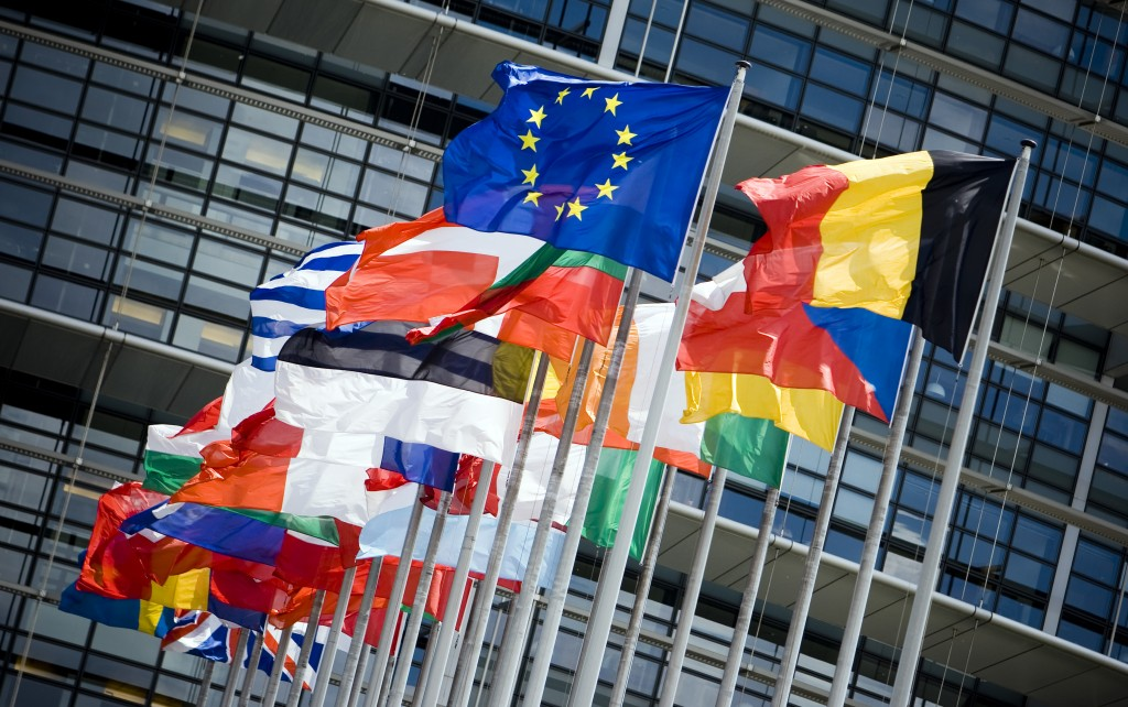 Flags of EU nations in Strasbourg