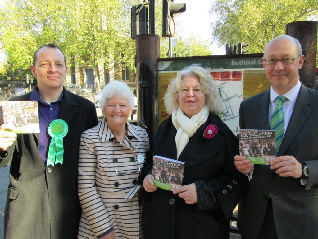 Jean with (from left) campaigners Chris Smith and Maureen Childs, as well as Clean Air in London director Simon Birkett (right) on the streets of Tower Hamlets campaigning about air pollution in the borough