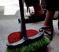 A cleaner sweeping