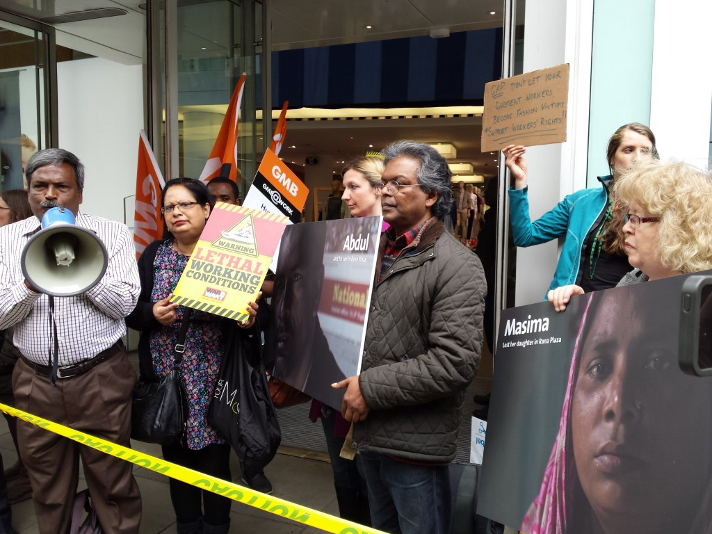 Jean at a protest outside Gap highlighting the pay and conditions of garment workers