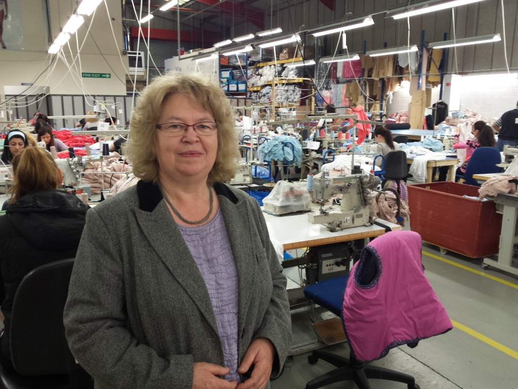 Jean inside a fabric factory in north London