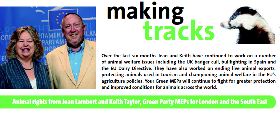 Cover of 'Making Tracks' - animal rights update from Green MEPs