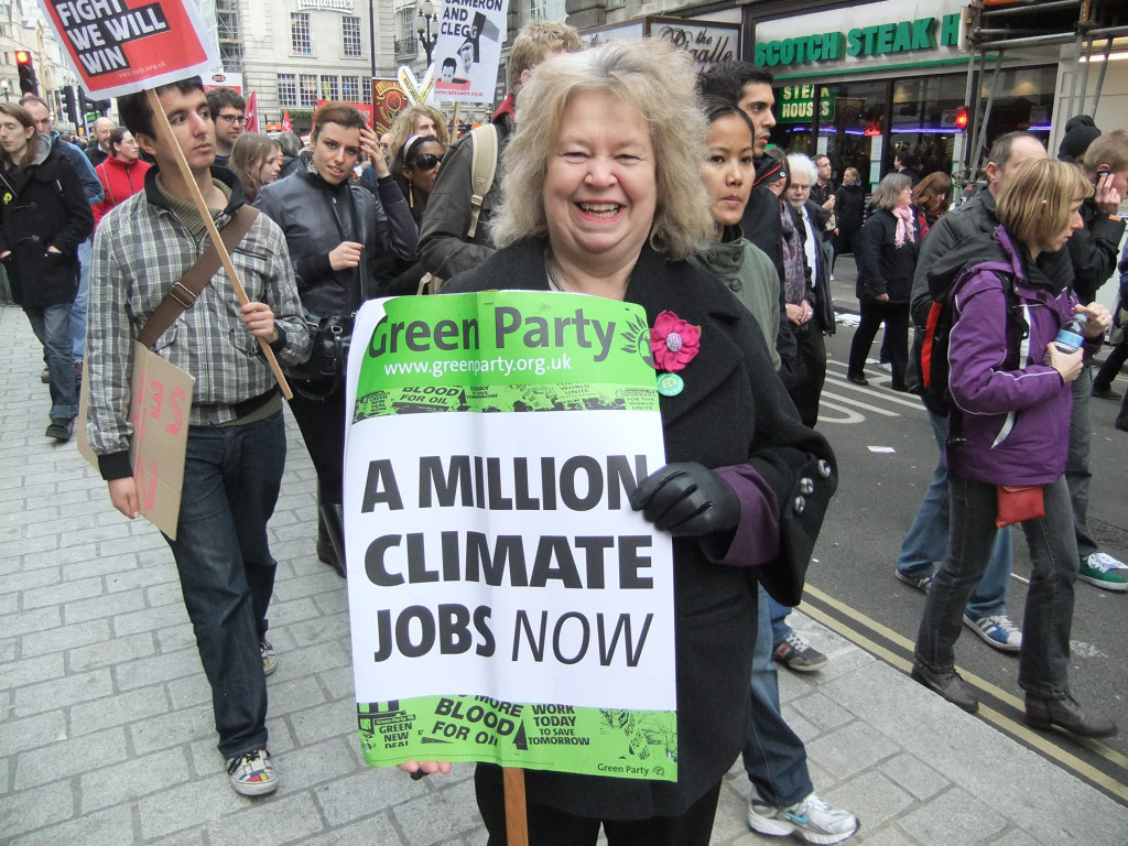 Jean at a climate rally