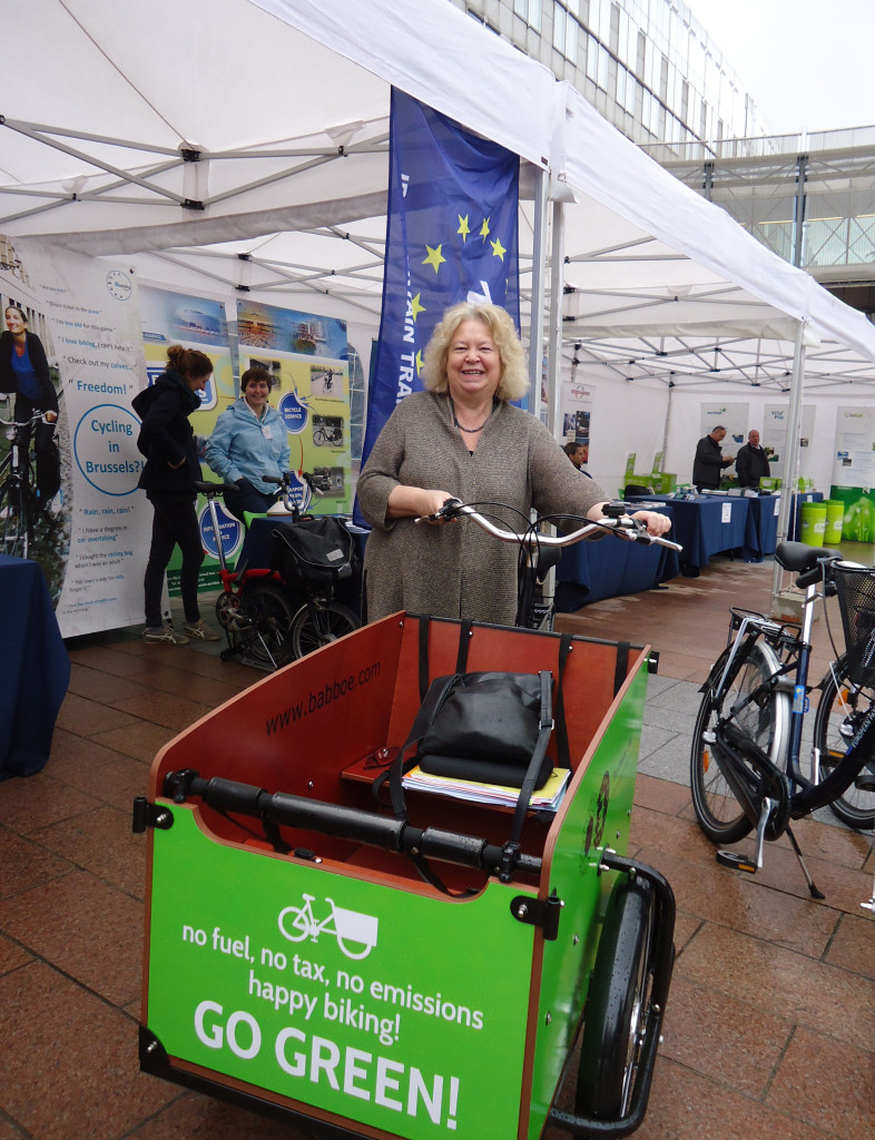 Jean with a bike transporter during European Mobility Week