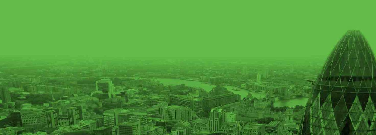 View of City of London with gherkin in foreground, filtered green