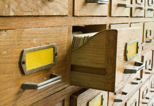 drawers holding archived records