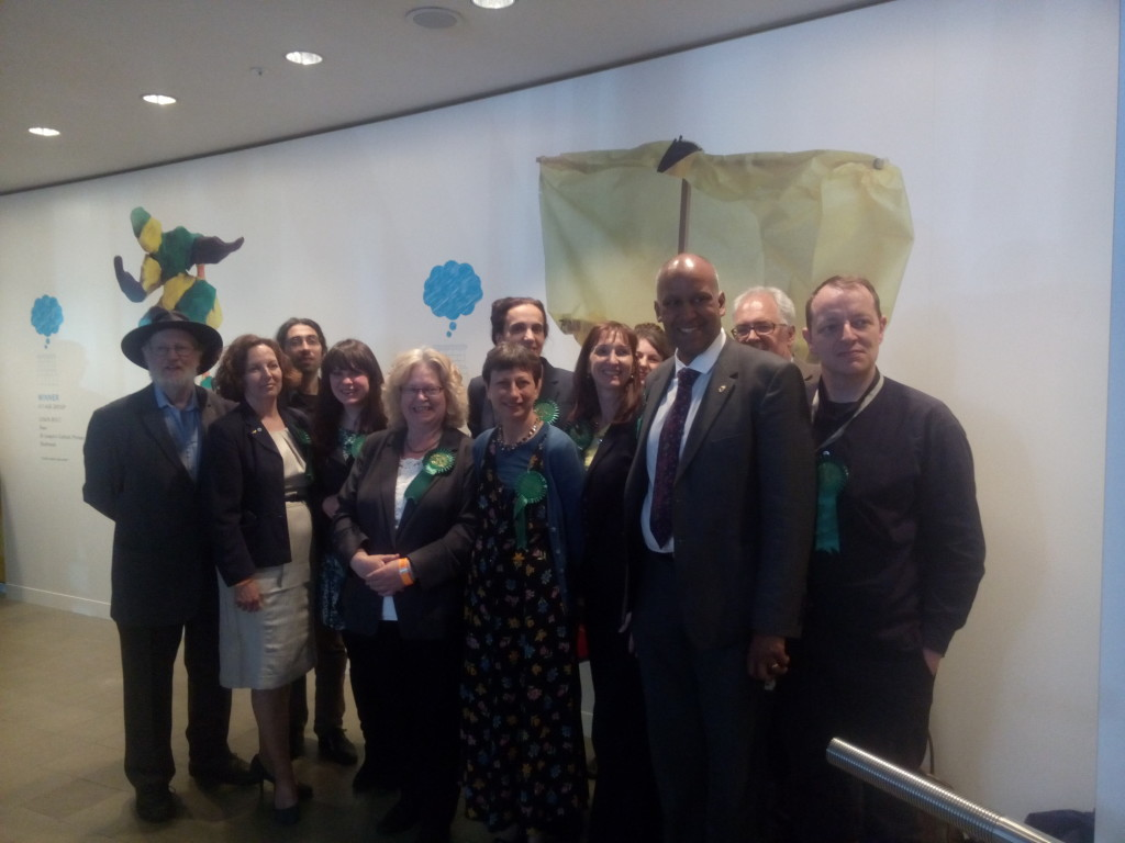 Green Party candidates and supporters at the London European Parliamentary election count, May 25th, 2014