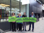 Greens showing their support for journalists and whisteleblowers outside the offices of The Guardian and The Observer