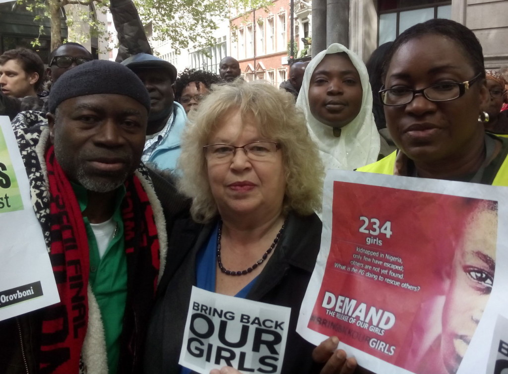 Jean outside Nigerian High Commission