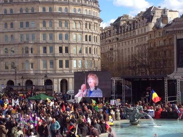 Jean on the big screen at a London anti-racism rally, March 2014