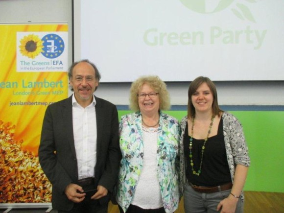Left to right: Bolivian Ambassador to the UK H.E. Roberto Calzadilla, Member of European Parliament Jean Lambert, Friends of Europe Donna Hume at the climate panel in Birmingham.