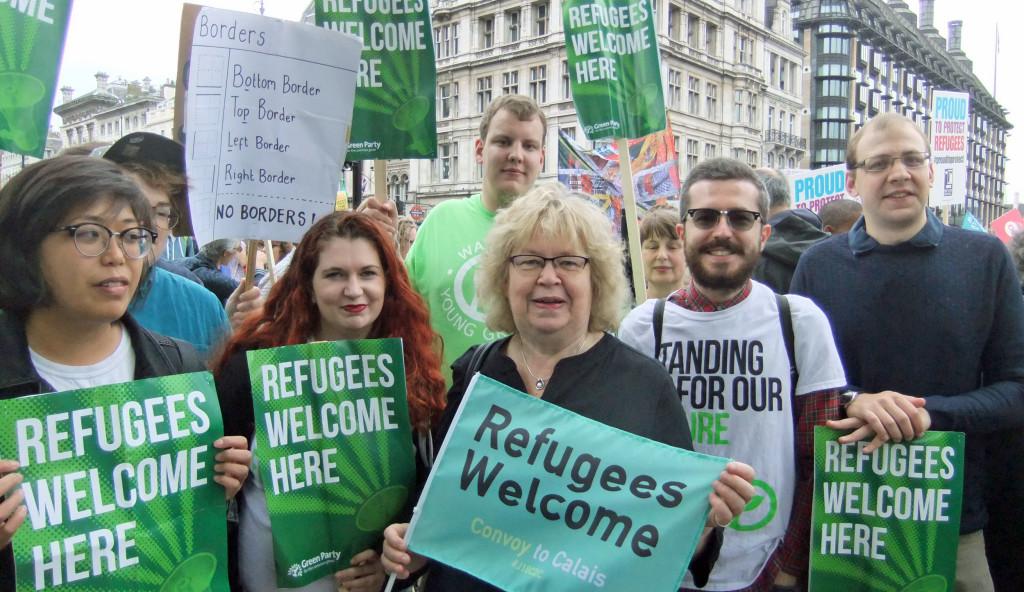 Jean and Green Party supporters at the Refugees Welcome march