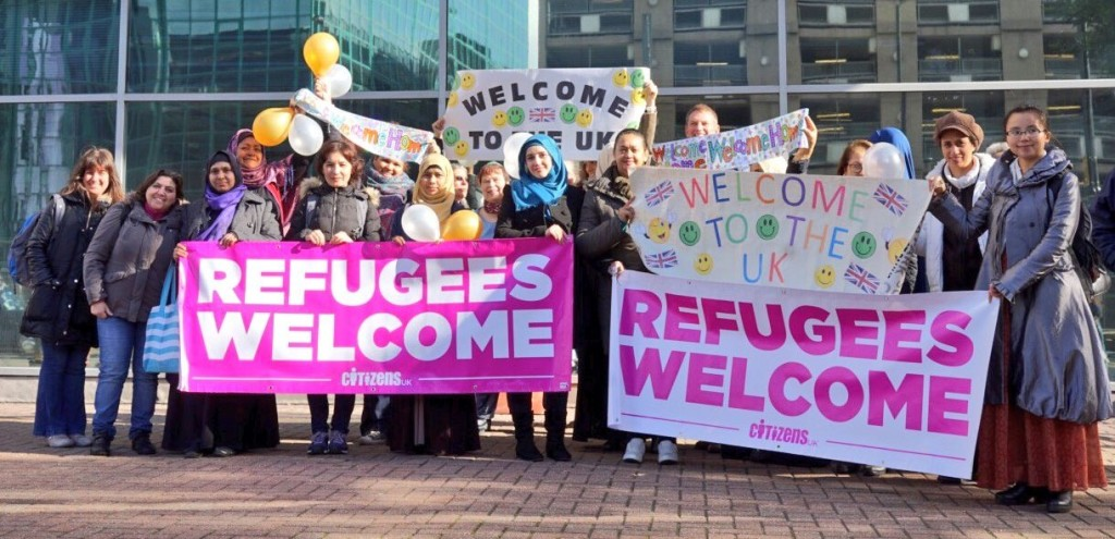Citizens UK welcome refugees arriving in Britain from France