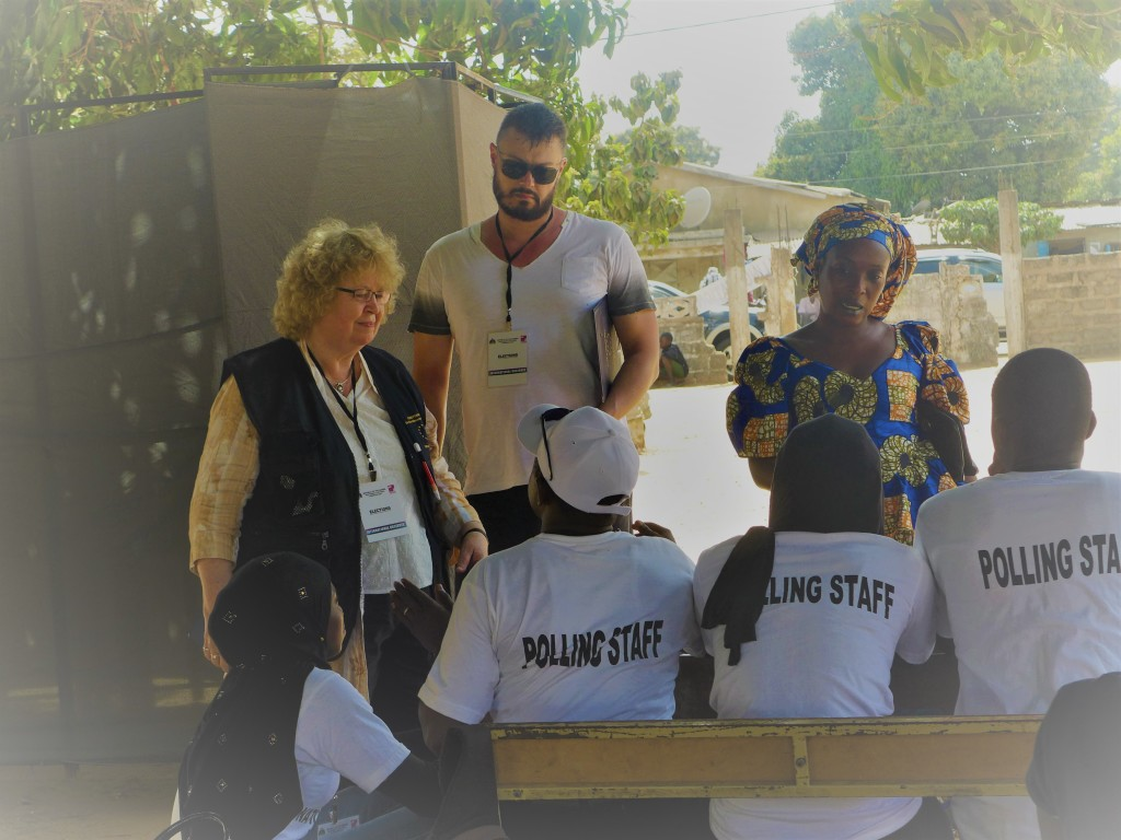 Meeting polling staff during the elections in The Gambia as part of the EU Election Observation Mission