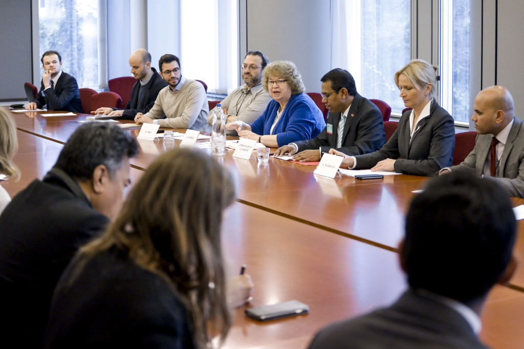 Jean hosting a climate action meeting in the European Parliament with H.E. Ahmed Sareer, Chair of the Alliance of Small Island States (AOSIS)