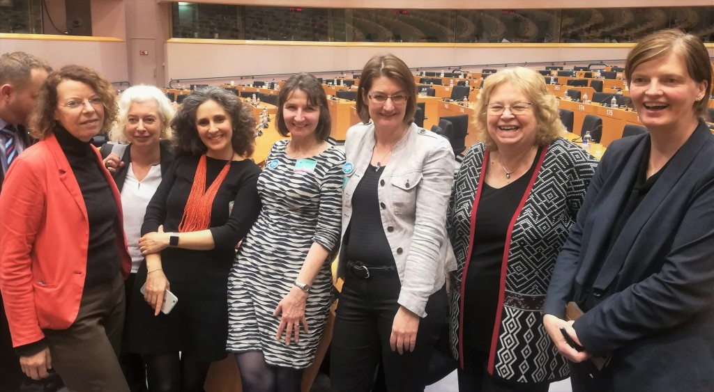 Jean with representatives of The3Million and British in Europe at the European Parliament's public hearing on citizens' rights