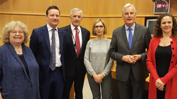 Jean meets with the EU's Brexit negotiater - Michel Barnier - to discuss how to guarantee the rights of EU nationals and British nationals in other EU countries post-Brexit.