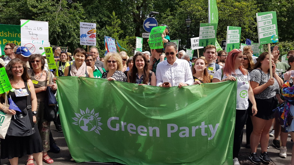 Jean co-leads the Green bloc at the People's Vote march in London