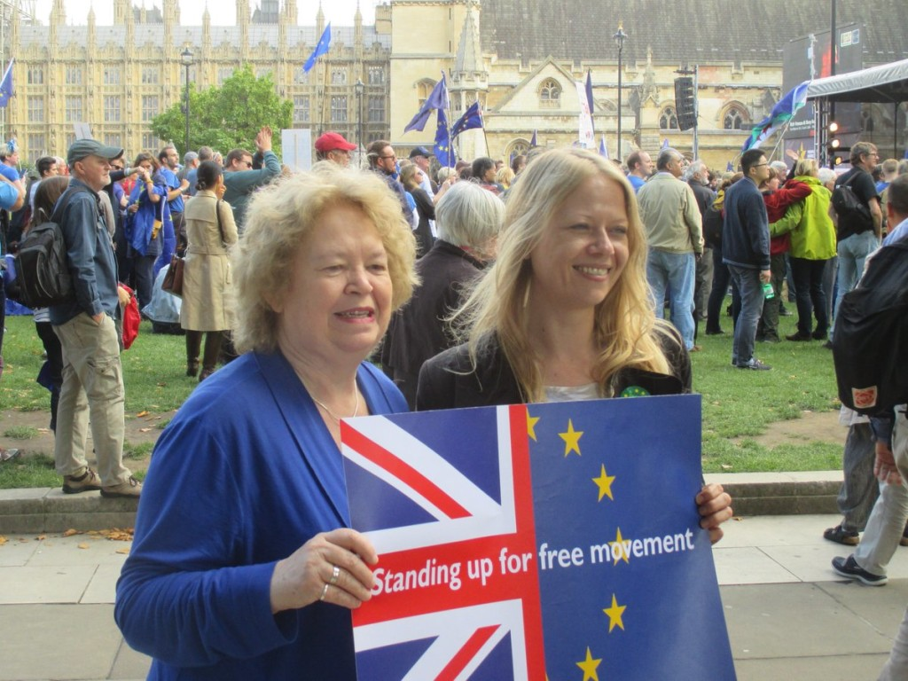 Jean with London Green GLA member Sian Berry at the People's March for Europe